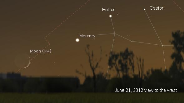 A thin crescent moon passes by Mercury on June 21, 2012