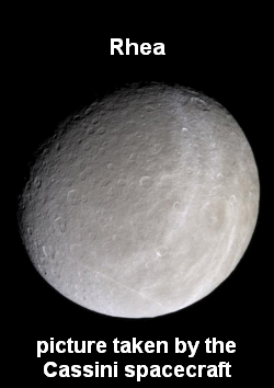 Rhea, a moon of Saturn, photographed by the Cassini spacecraft