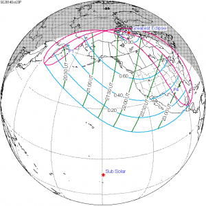 October 23, 2014 partial solar eclipse visibility map
