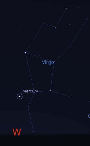 Mercury at greatest elongation on Sep. 4, 2015