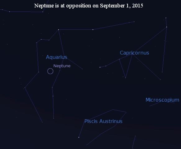Neptune at opposition in Aquarius in September 2015