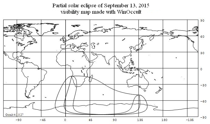 Partial solar eclipse September 13, 2015 visibility map