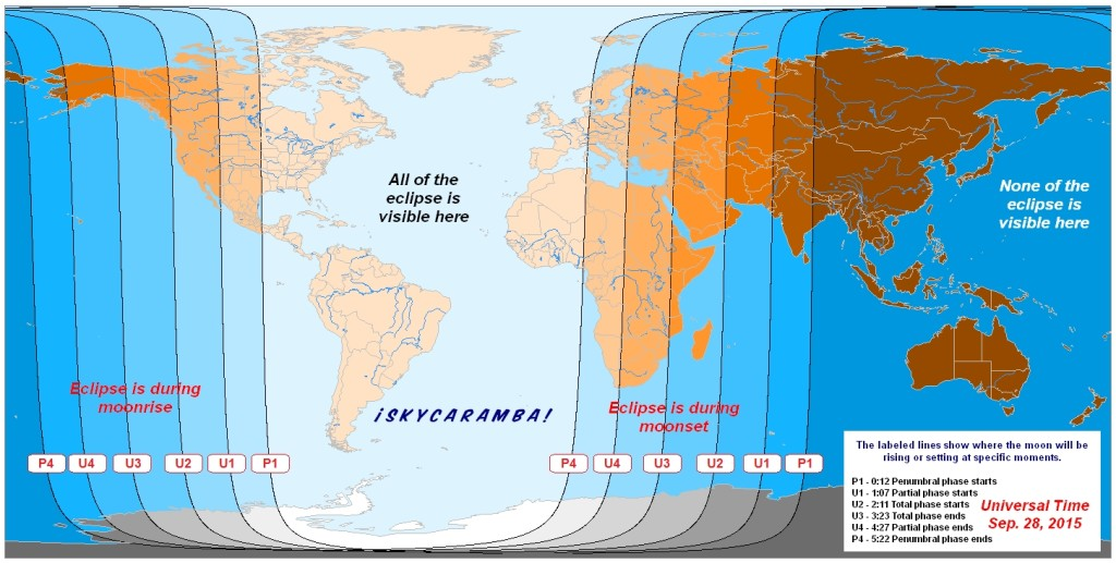 September 28, 2015 total lunar eclipse visibility map