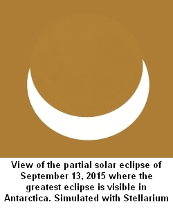 Simulated view of solar eclipse of Sep. 13, 2015 from Queen Maud Land