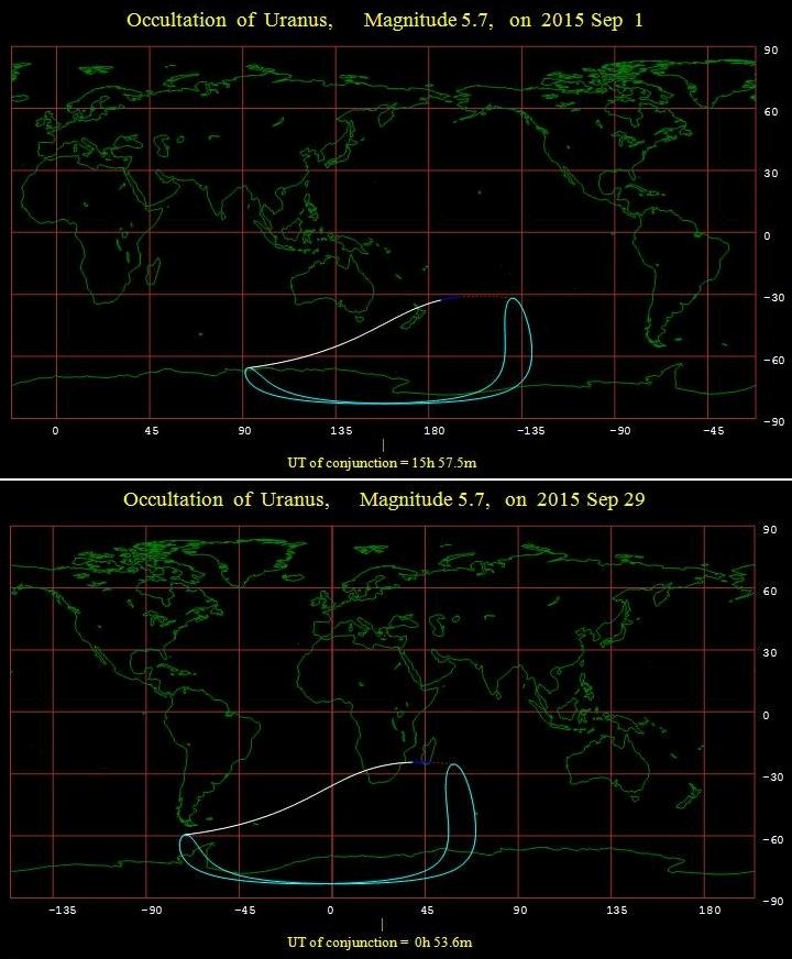 Uranus occultations September 2015 visibility maps