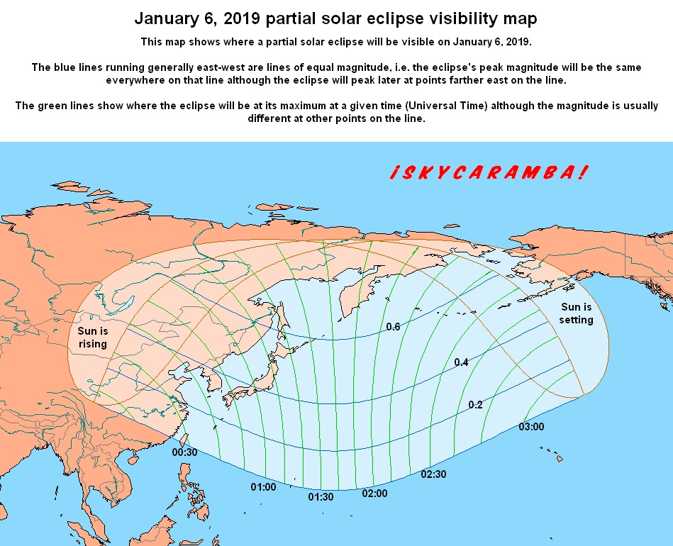 Visibility map for the partial solar eclipse of January 6, 2019. East Asia and southwest Alaska are in the visibility region.