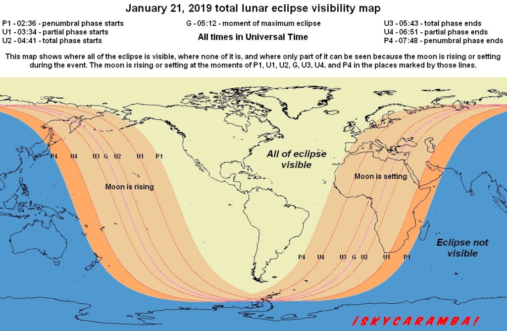 Visibility map for the total lunar eclipse of January 21, 2019. Times are in UT. At many locations, the date will be January 20.