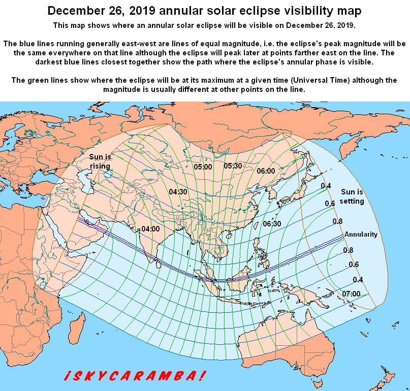 Annular solar eclipse visibility map for December 26, 2019 event