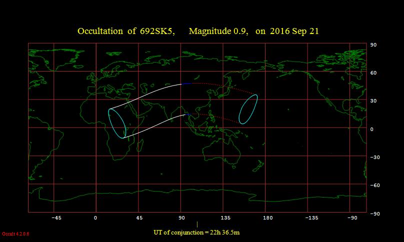 Visibility map for the moon occulting Aldebaran on September 21, 2016 (made with IOTA's Occult)
