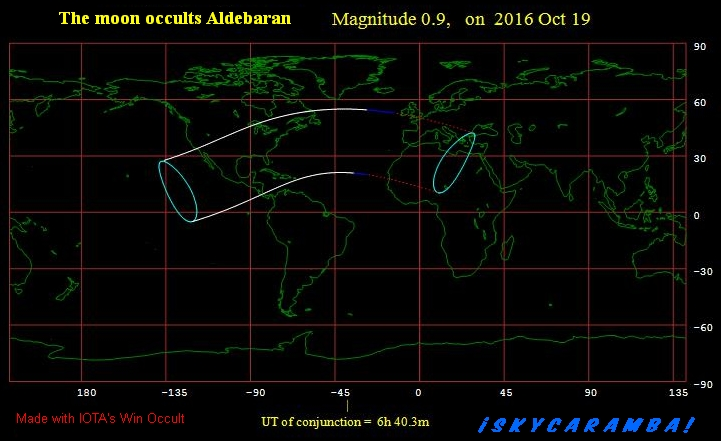 Visibility map for the occultation of Aldebaran in October 2016
