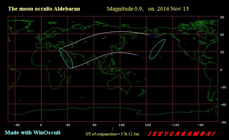 Occultation of Aldebaran Nov. 15, 2016 visibility map