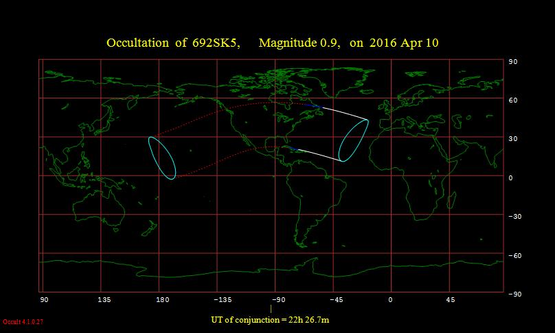 Aldebaran occultation Apr. 10, 2016 visibility map