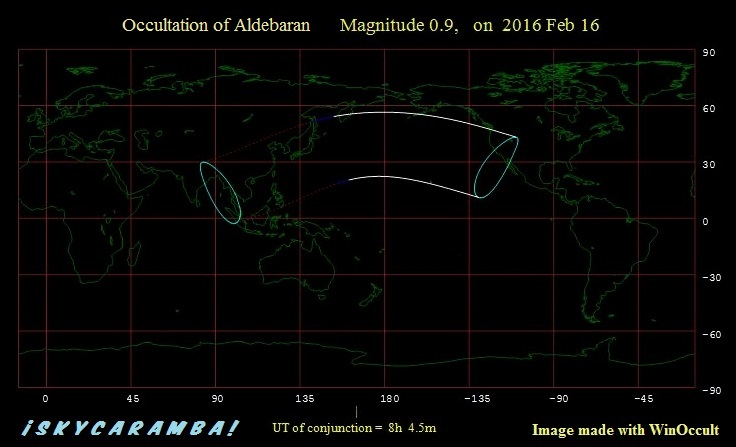 Aldebaran occultation visibility map, February 16, 2016