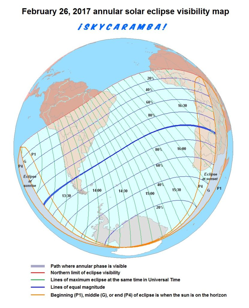 Visibility Map for Annular Eclipse 02-26-2017