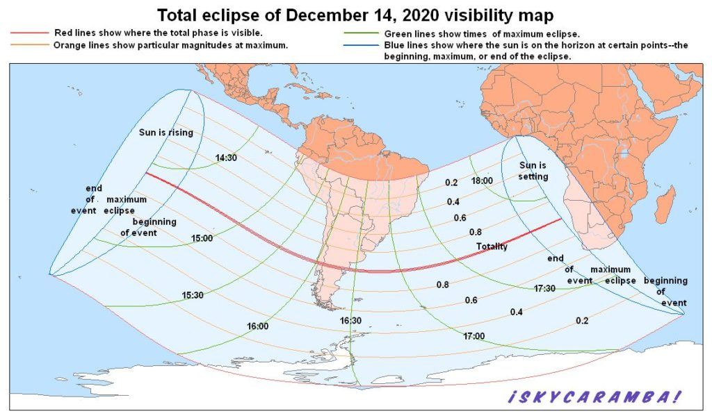 Visibility map for the total solar eclipse of December 14, 2020