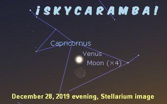 Venus and moon in Capricornus on December 28, 2019