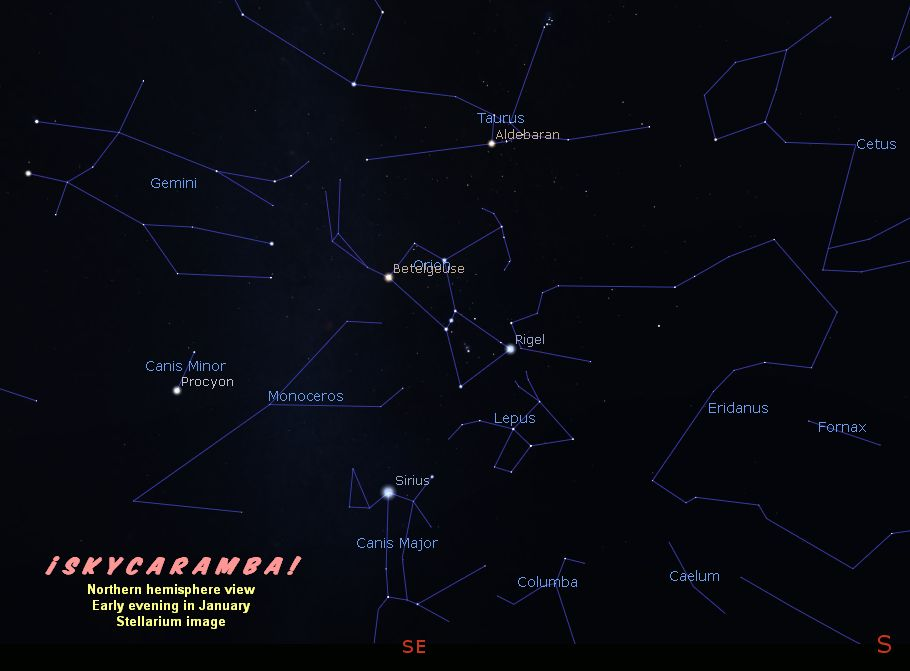 Wide view of the constellations rising in early evening in January, northern hemisphere view