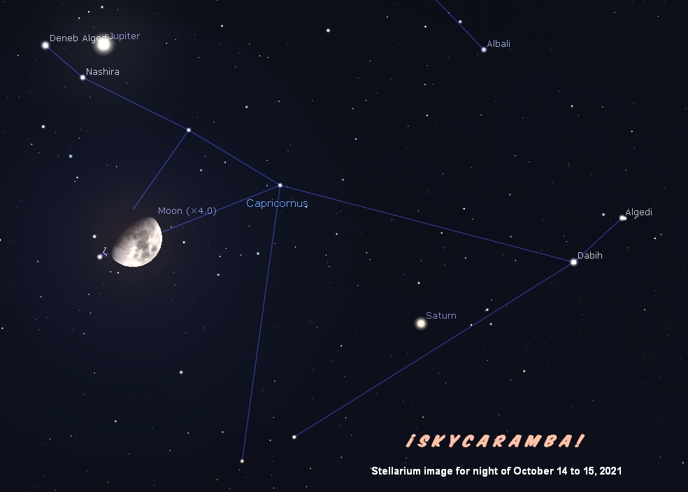 Jupiter and Saturn in Capricornus with the nearly full moon on October 14-15, 2021