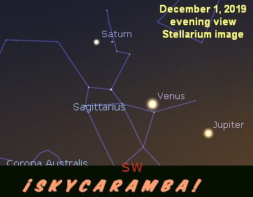 Jupiter, Venus, and Saturn in Sagittarius on December 1, 2019.