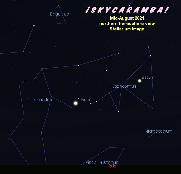 Jupiter and Saturn in mid-August 2021