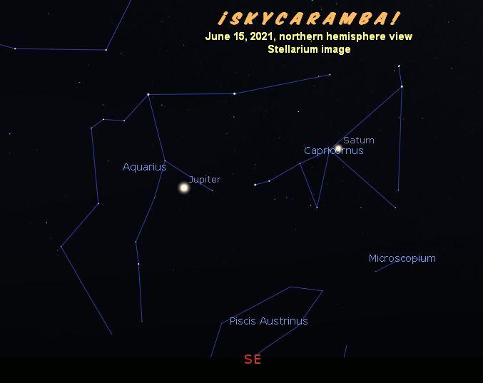 Jupiter in Aquarius and Saturn in Capricornus in June 2021.