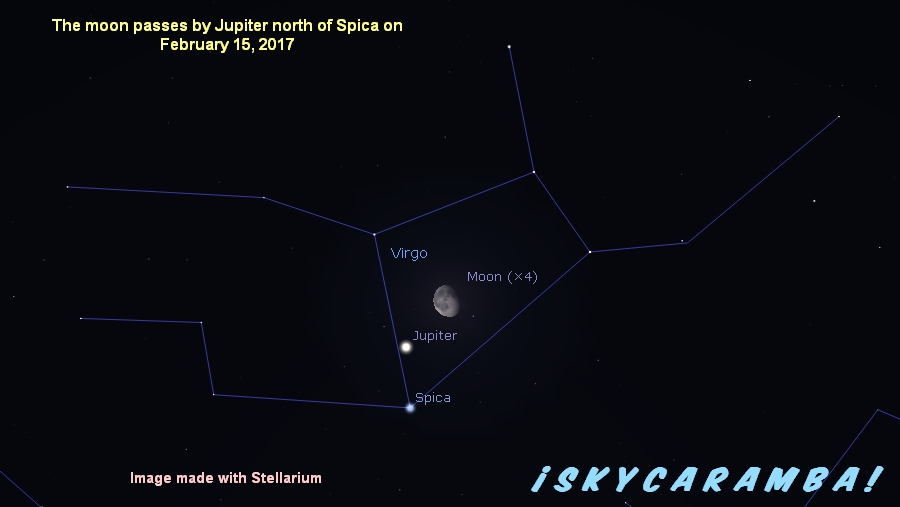 Jupiter, Spica, and the moon on Feb. 15, 2017