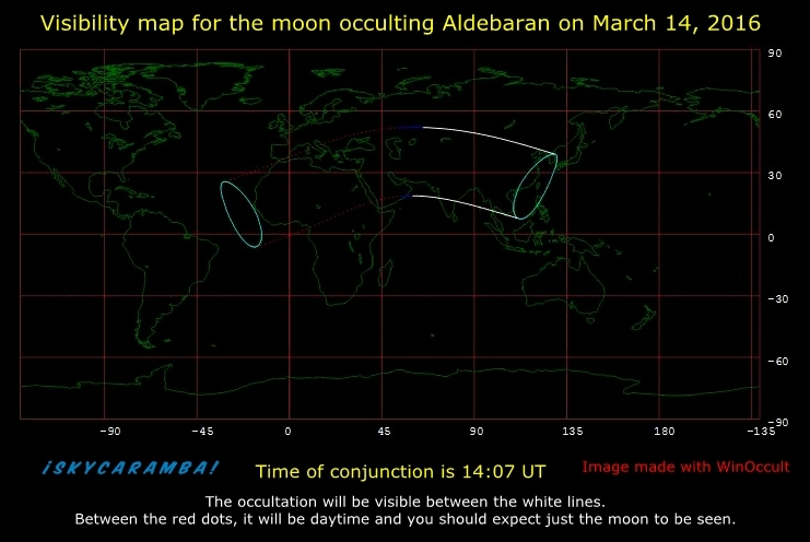 Mar. 14, 2016 Aldebaran occultation visibility map.