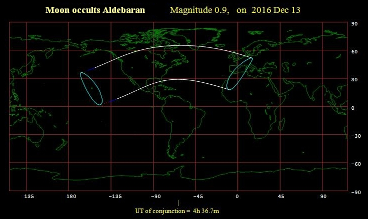 Moon occults Aldebaran 121316