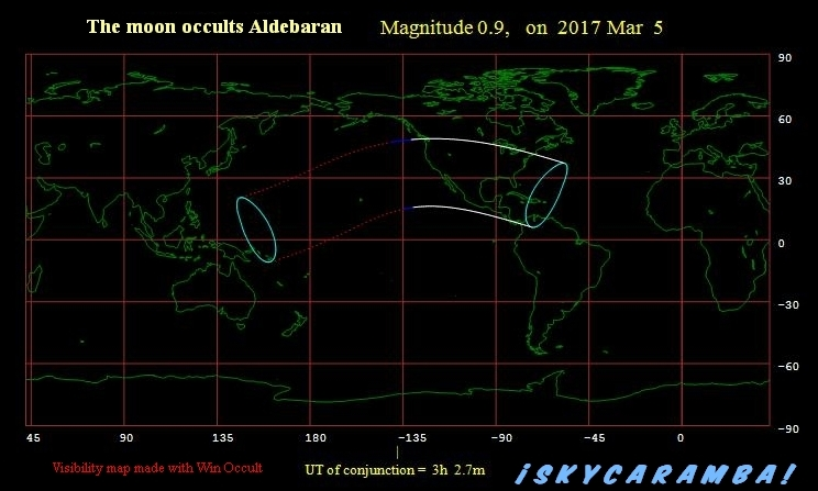 Occultation of Aldebaran visibility map, March 5, 2017