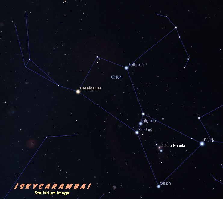 The constellation Orion with some of the star names shown