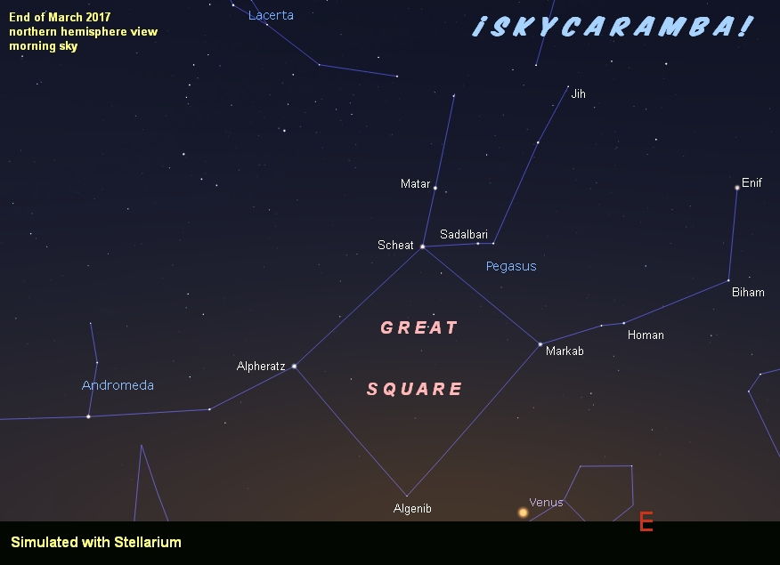 Great Square of Pegasus and Venus, late March 2017