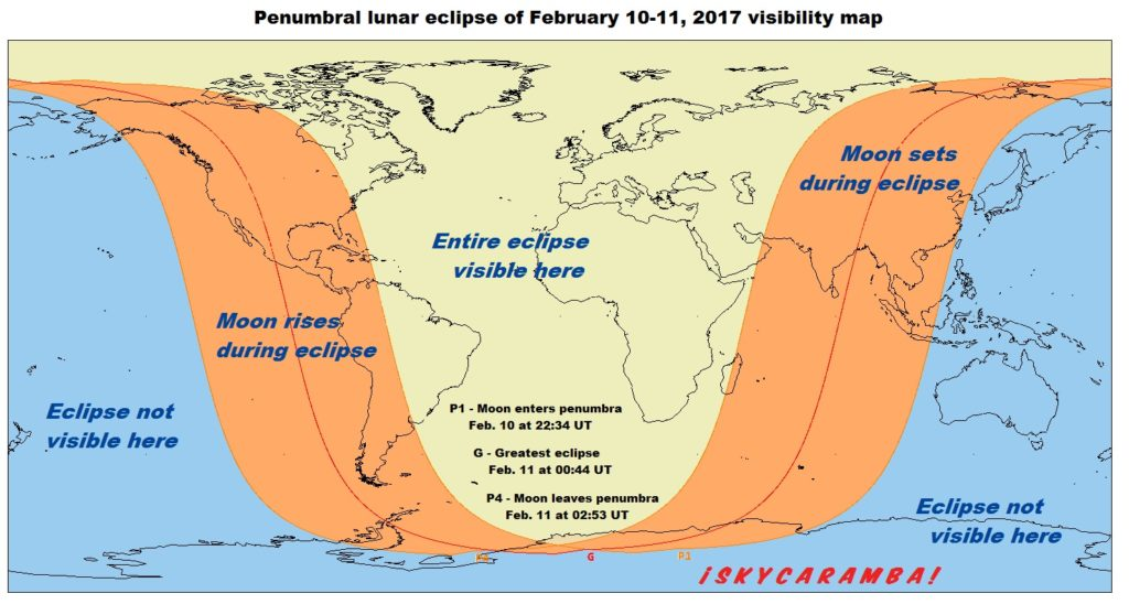 Visibility map for the penumbral Lunar Eclipse 02-11-2017