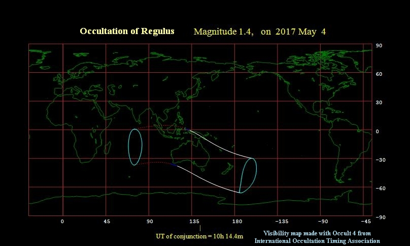 The moon occults Regulus on May 4, 2017 - visibility map