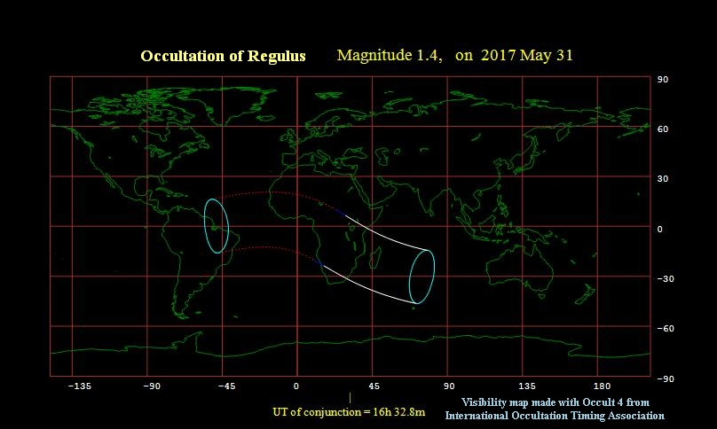The moon occults Regulus May 31, 2017 - visibility map