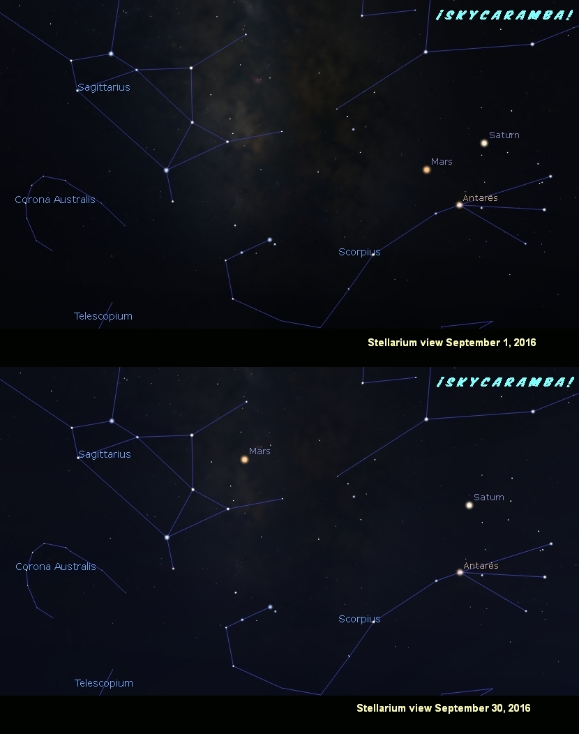 Saturn, Mars, and Antares in September 2016