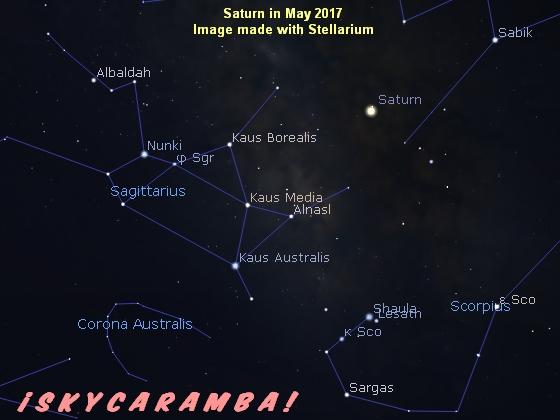 Saturn near Sagittarius May 2017