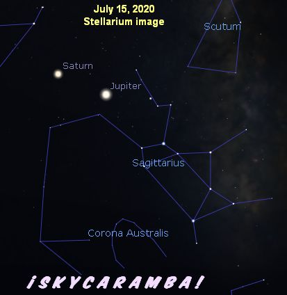 Saturn and Jupiter next to Sagittarius in July 2020