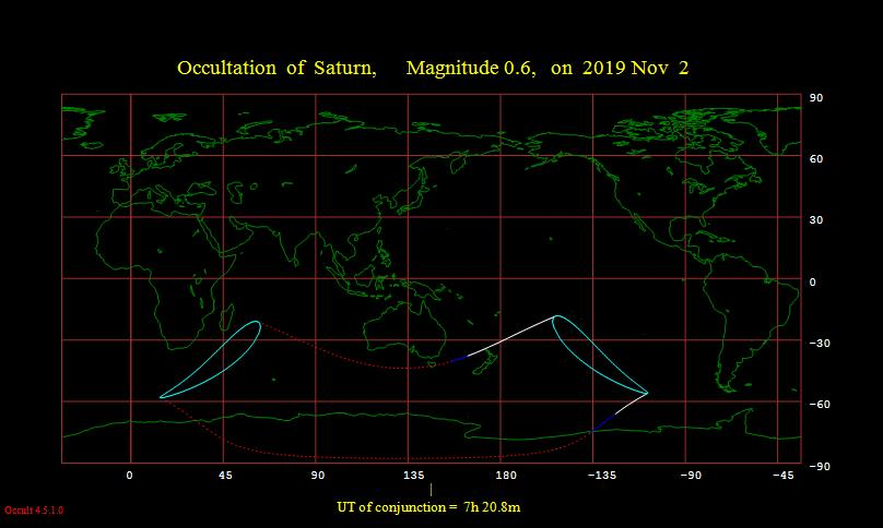Occultation of Saturn visibility map November 2, 2019