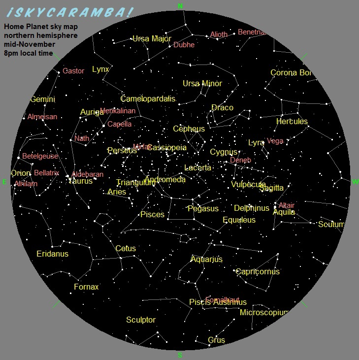 Sky Map mid-November 8pm local northern hemisphere