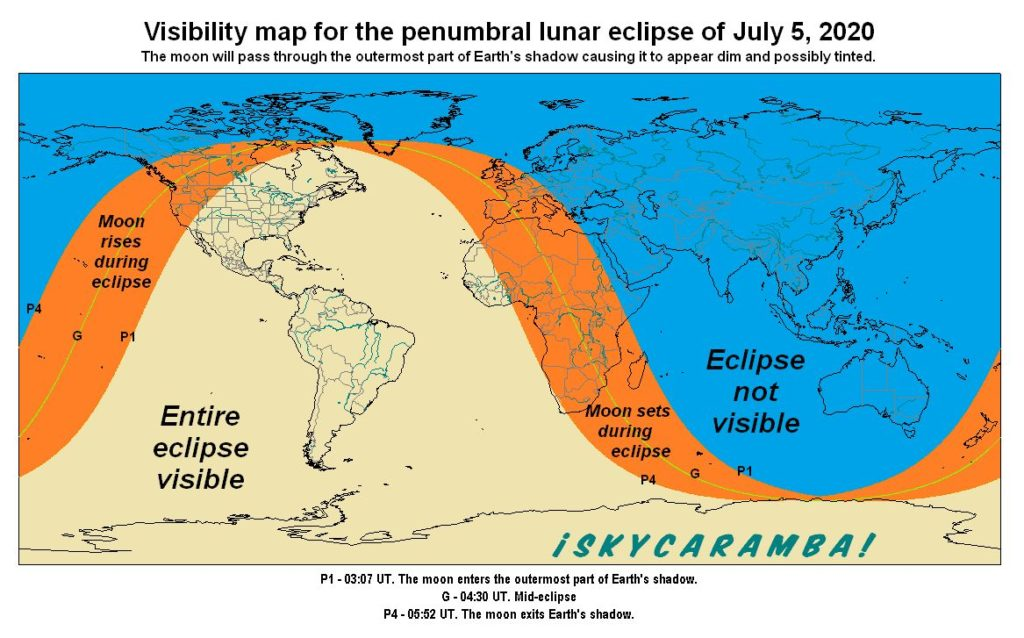 Visibility map for the penumbral eclipse of the moon on July 5, 2020.