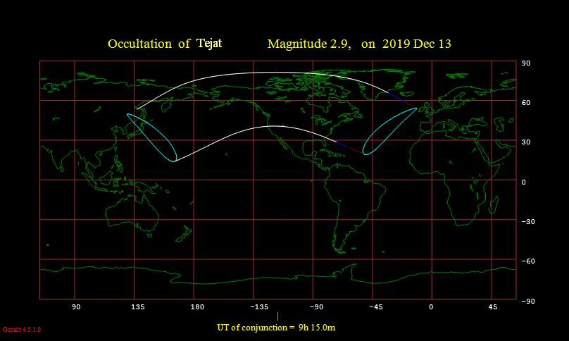 Occultation of Tejat visibility map for December 13, 2019 event. Image made with Win Occult program.