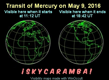 Transit of Mercury May 9, 2016 visibility
