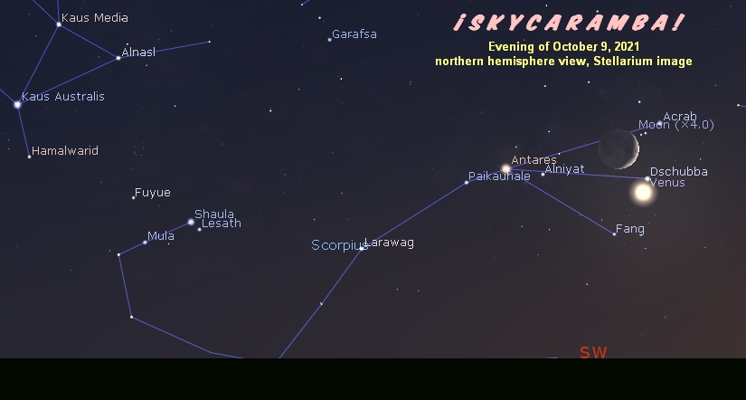 Venus and the moon in Scorpius on October 9, 2021.