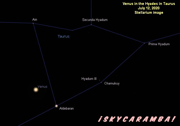 Venus at its closest to Aldebaran (1.0° away) on July 12, 2020