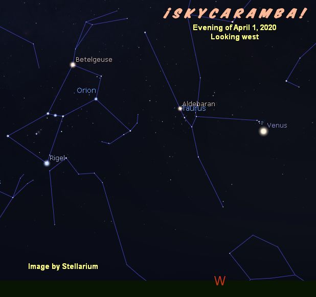 Evening sky on April 1, 2020 with Orion, Taurus, and Venus